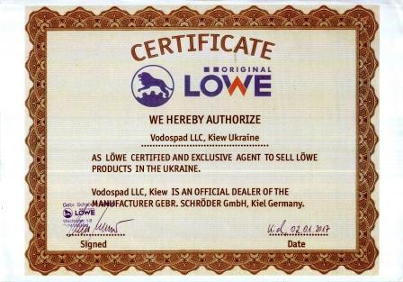 Certificate LOWE Ukraine